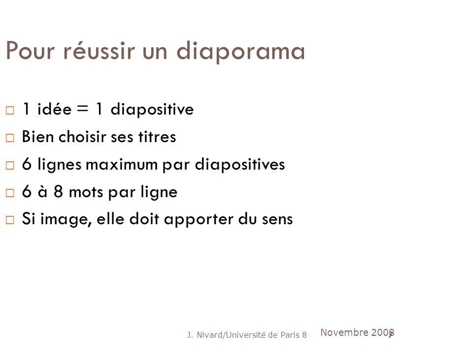 J. Nivard/Université de Paris 87 Pour réussir un diaporama 1 idée = 1 diapositive Bien choisir ses titres 6 lignes maximum par diapositives 6 à 8 mots