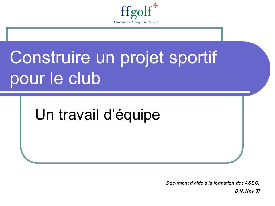 Construire un projet sportif pour le club Un travail déquipe Document daide à la formation des ASBC. D.N. Nov 07