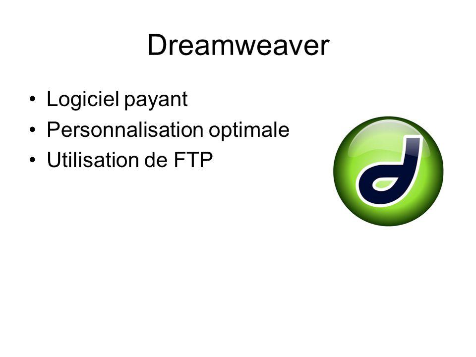 Dreamweaver Logiciel payant Personnalisation optimale Utilisation de FTP