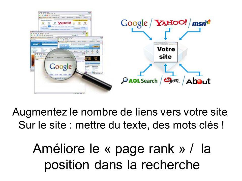 Augmentez le nombre de liens vers votre site Sur le site : mettre du texte, des mots clés .