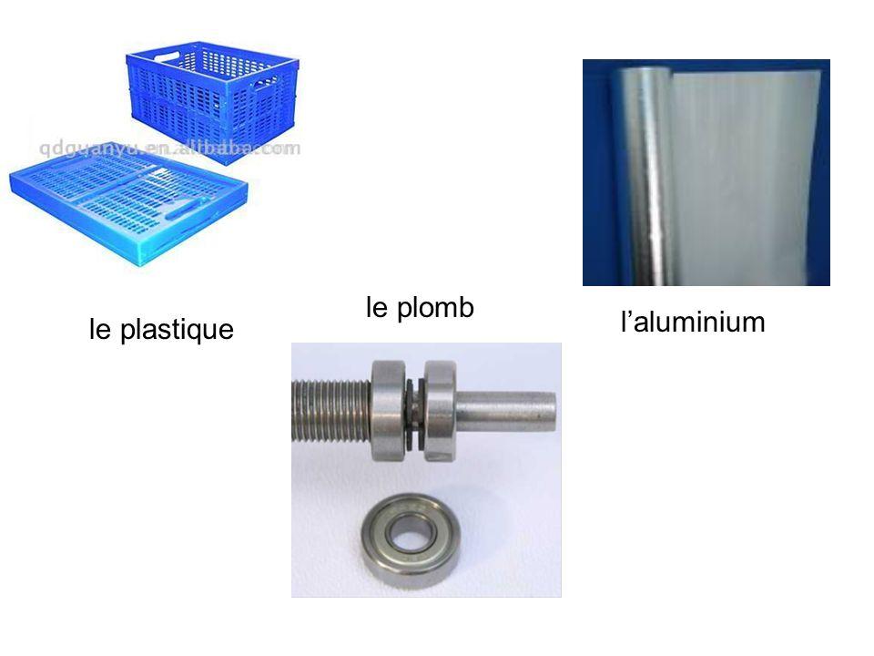 laluminium le plomb le plastique