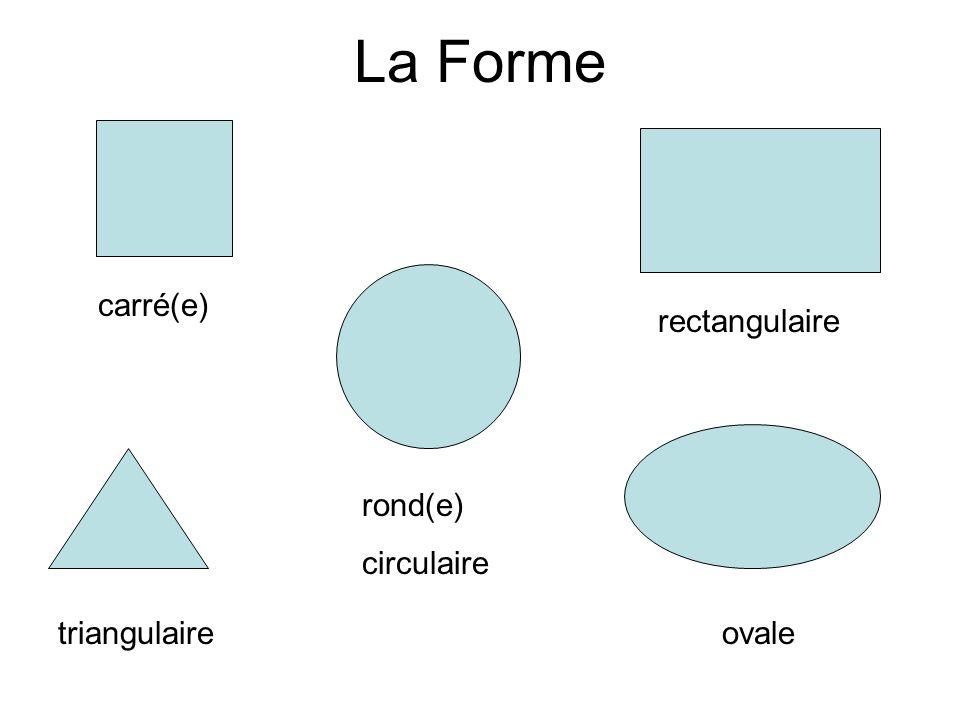 La Forme carré(e) rectangulaire triangulaire rond(e) circulaire ovale