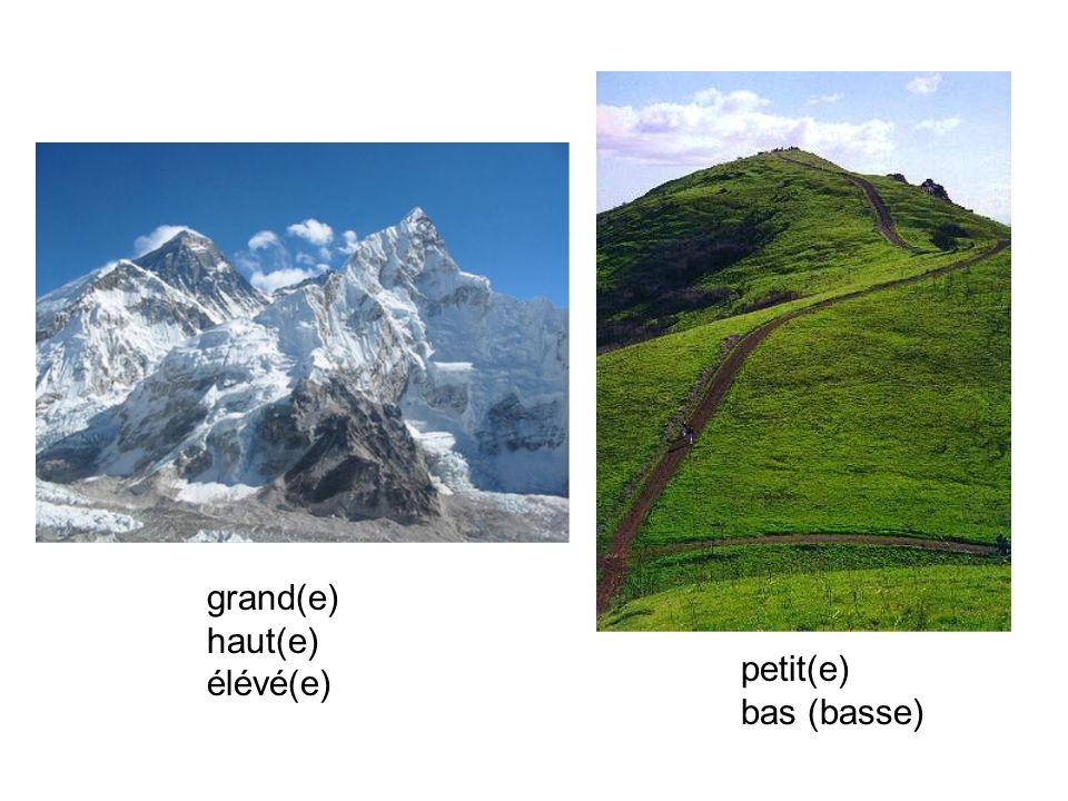 grand(e) haut(e) élévé(e) petit(e) bas (basse)