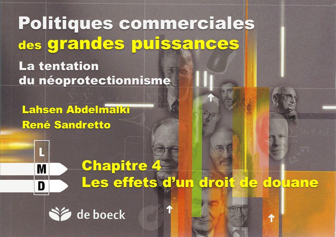 Politiques commerciales des grandes puissances Lahsen Abdelmalki René Sandretto La tentation du néoprotectionnisme Chapitre 4 Les effets dun droit de