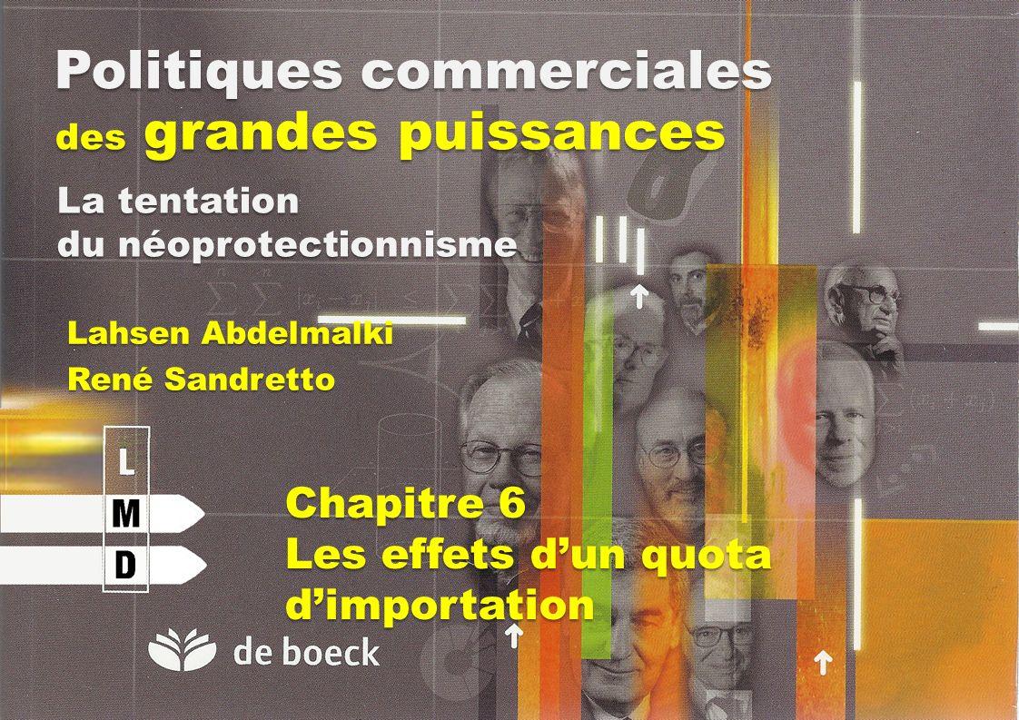 Politiques commerciales des grandes puissances Lahsen Abdelmalki René Sandretto La tentation du néoprotectionnisme Chapitre 6 Les effets dun quota dim