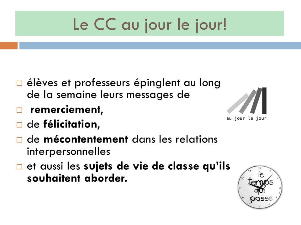 Le CC au jour le jour! élèves et professeurs épinglent au long de la semaine leurs messages de remerciement, de félicitation, de mécontentement dans l
