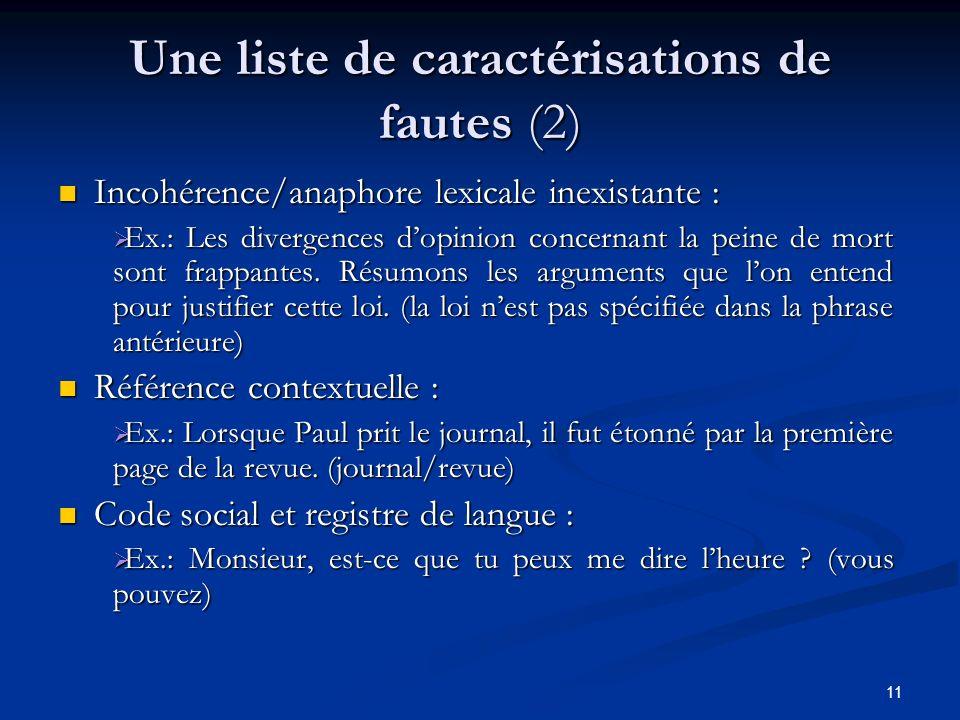 11 Une liste de caractérisations de fautes (2) Incohérence/anaphore lexicale inexistante : Ex.: Les divergences dopinion concernant la peine de mort s