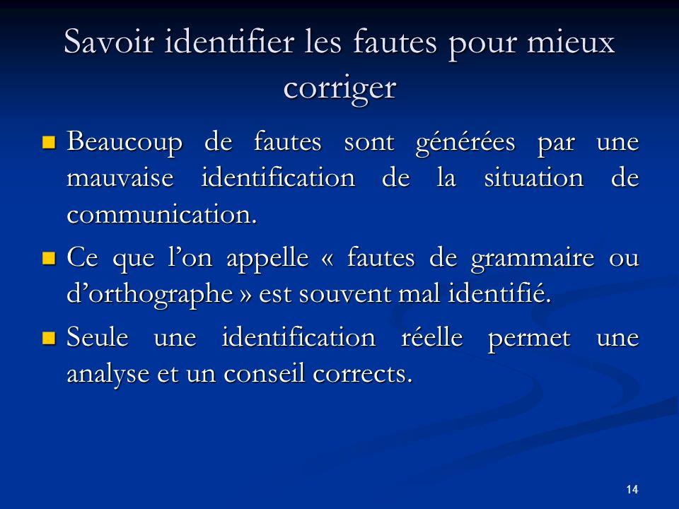 14 Savoir identifier les fautes pour mieux corriger Beaucoup de fautes sont générées par une mauvaise identification de la situation de communication.