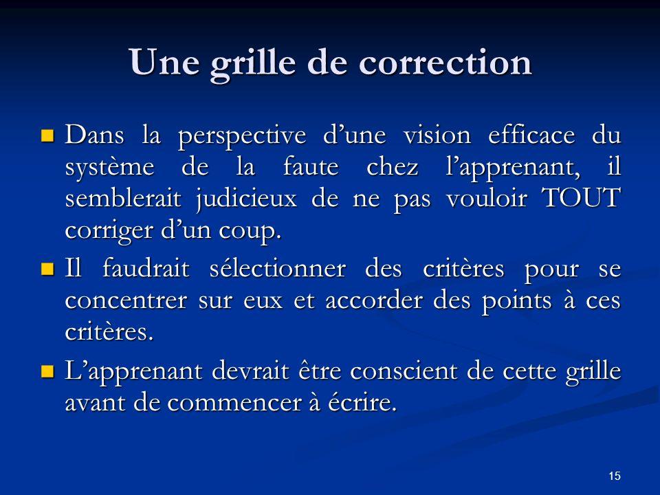15 Une grille de correction Dans la perspective dune vision efficace du système de la faute chez lapprenant, il semblerait judicieux de ne pas vouloir