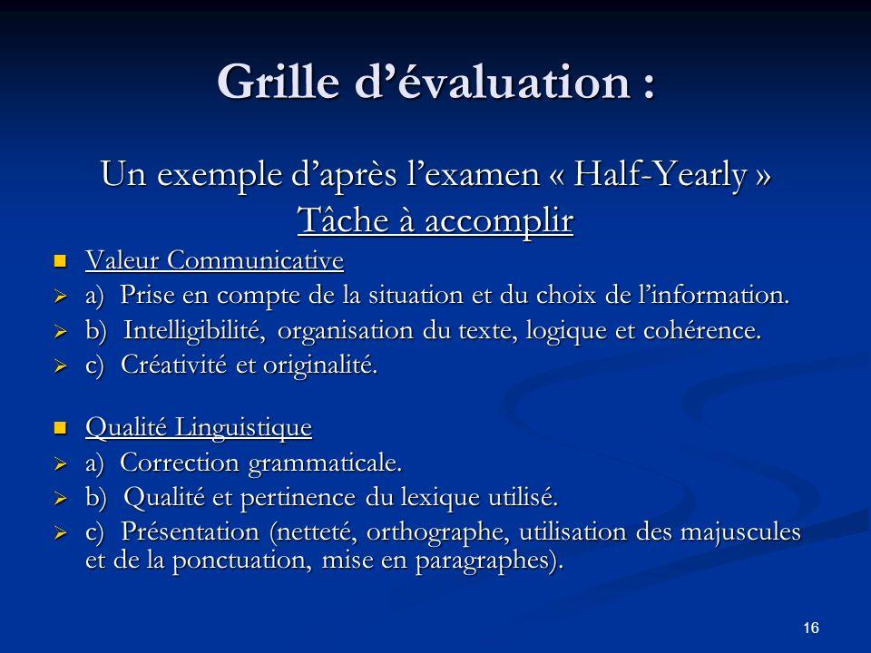 16 Grille dévaluation : Un exemple daprès lexamen « Half-Yearly » Tâche à accomplir Valeur Communicative a) Prise en compte de la situation et du choi