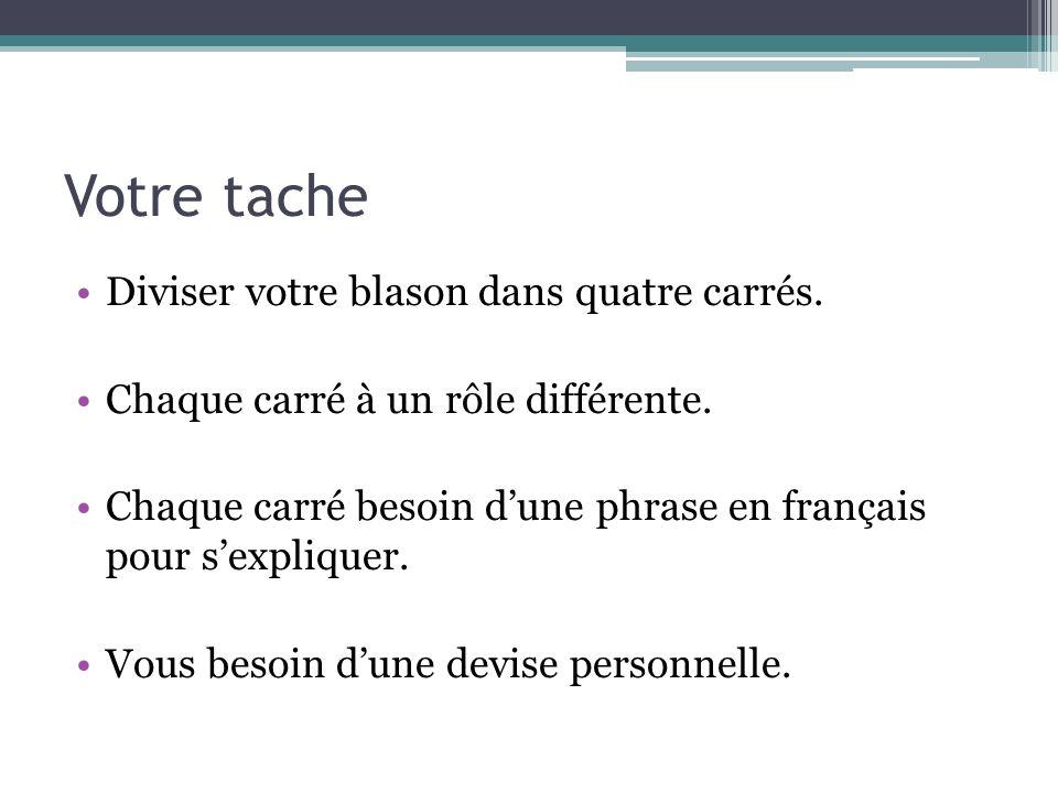 Votre tache Diviser votre blason dans quatre carrés. Chaque carré à un rôle différente. Chaque carré besoin dune phrase en français pour sexpliquer. V