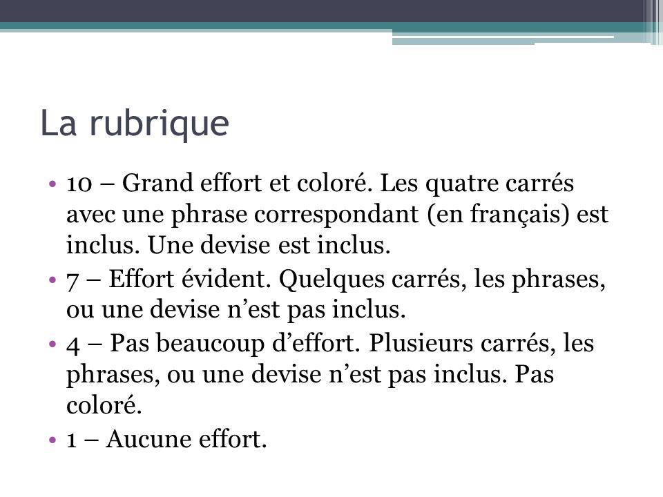 La rubrique 10 – Grand effort et coloré. Les quatre carrés avec une phrase correspondant (en français) est inclus. Une devise est inclus. 7 – Effort é