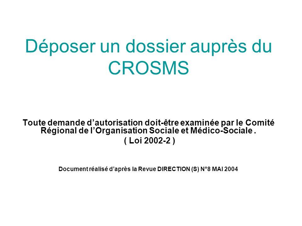 Déposer un dossier auprès du CROSMS Toute demande dautorisation doit-être examinée par le Comité Régional de lOrganisation Sociale et Médico-Sociale.