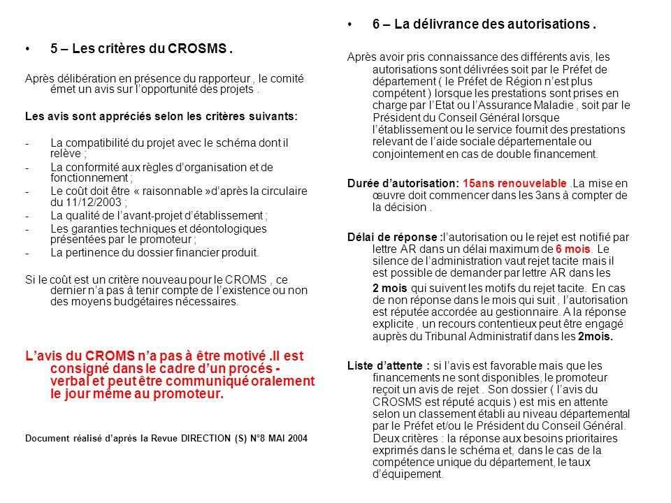 5 – Les critères du CROSMS. Après délibération en présence du rapporteur, le comité émet un avis sur lopportunité des projets. Les avis sont appréciés