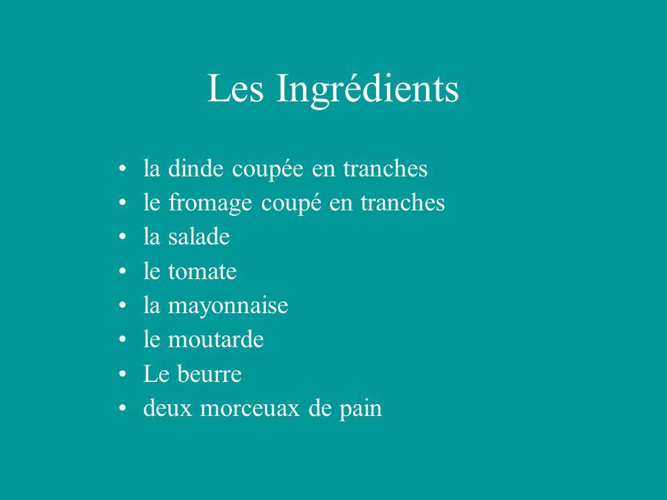 Les Ingrédients la dinde coupée en tranches le fromage coupé en tranches la salade le tomate la mayonnaise le moutarde Le beurre deux morceuax de pain