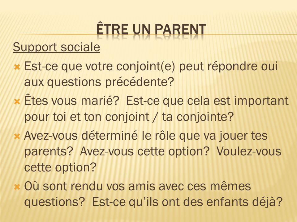 Support sociale Est-ce que votre conjoint(e) peut répondre oui aux questions précédente? Êtes vous marié? Est-ce que cela est important pour toi et to