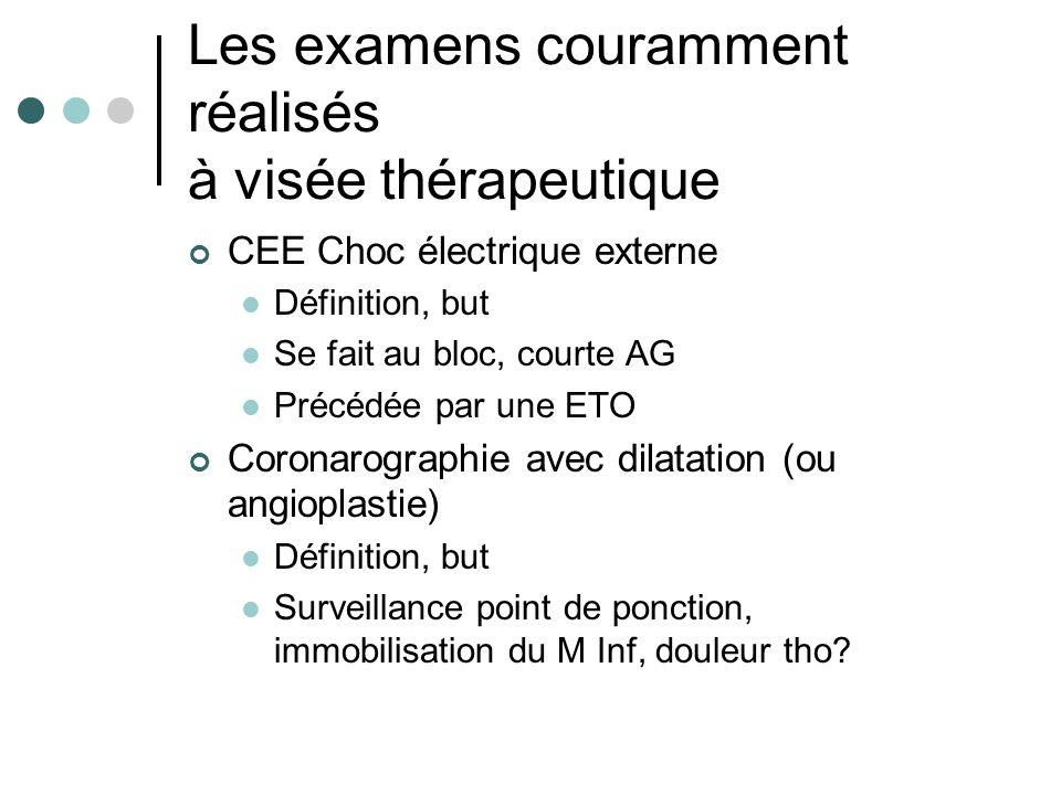 Les examens couramment réalisés à visée thérapeutique CEE Choc électrique externe Définition, but Se fait au bloc, courte AG Précédée par une ETO Coro