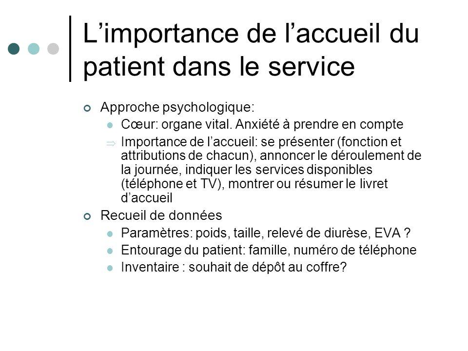 Limportance de laccueil du patient dans le service Approche psychologique: Cœur: organe vital. Anxiété à prendre en compte Importance de laccueil: se