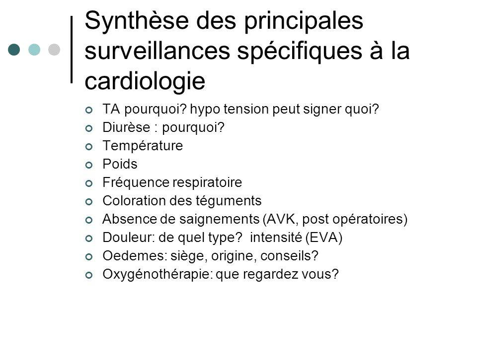 Synthèse des principales surveillances spécifiques à la cardiologie TA pourquoi? hypo tension peut signer quoi? Diurèse : pourquoi? Température Poids