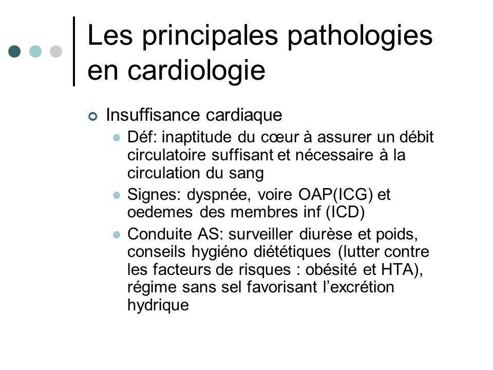 Les principales pathologies en cardiologie Insuffisance cardiaque Déf: inaptitude du cœur à assurer un débit circulatoire suffisant et nécessaire à la