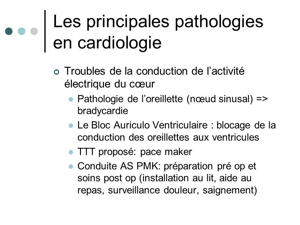 Les principales pathologies en cardiologie Troubles de la conduction de lactivité électrique du cœur Pathologie de loreillette (nœud sinusal) => brady