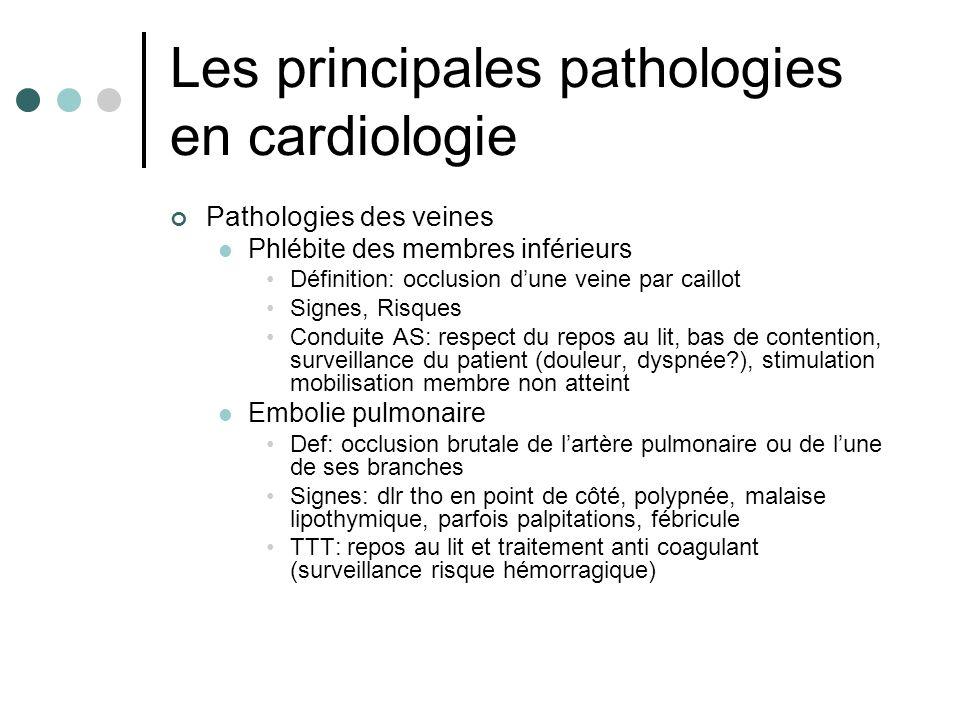 Les principales pathologies en cardiologie Pathologies des veines Phlébite des membres inférieurs Définition: occlusion dune veine par caillot Signes,
