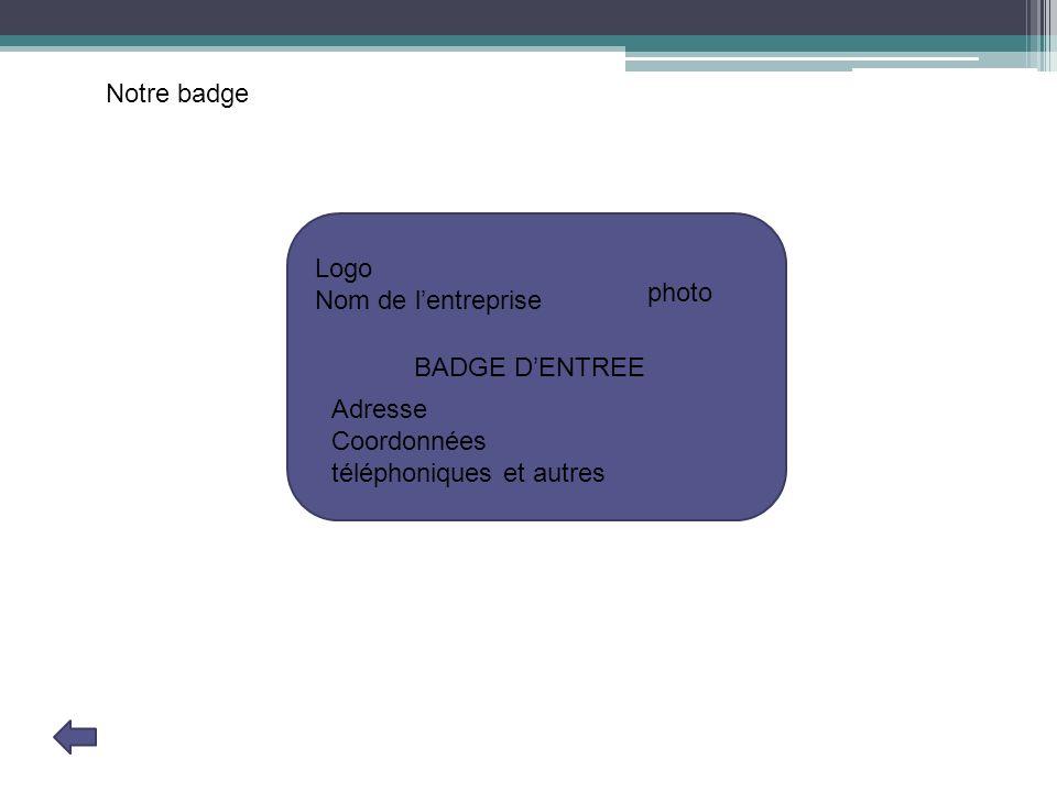 Logo Nom de lentreprise Adresse Coordonnées téléphoniques et autres photo BADGE DENTREE Notre badge