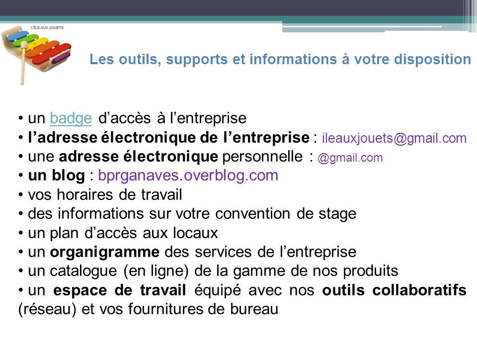 un badge daccès à lentreprisebadge ladresse électronique de lentreprise : ileauxjouets@gmail.com une adresse électronique personnelle : @gmail.com un