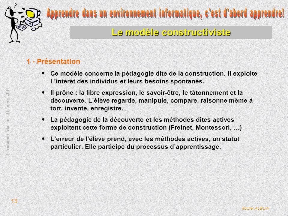 Michel AUBLIN Formation Maroc – Octobre 2011 13 Le modèle constructiviste 1 - Présentation Ce modèle concerne la pédagogie dite de la construction.