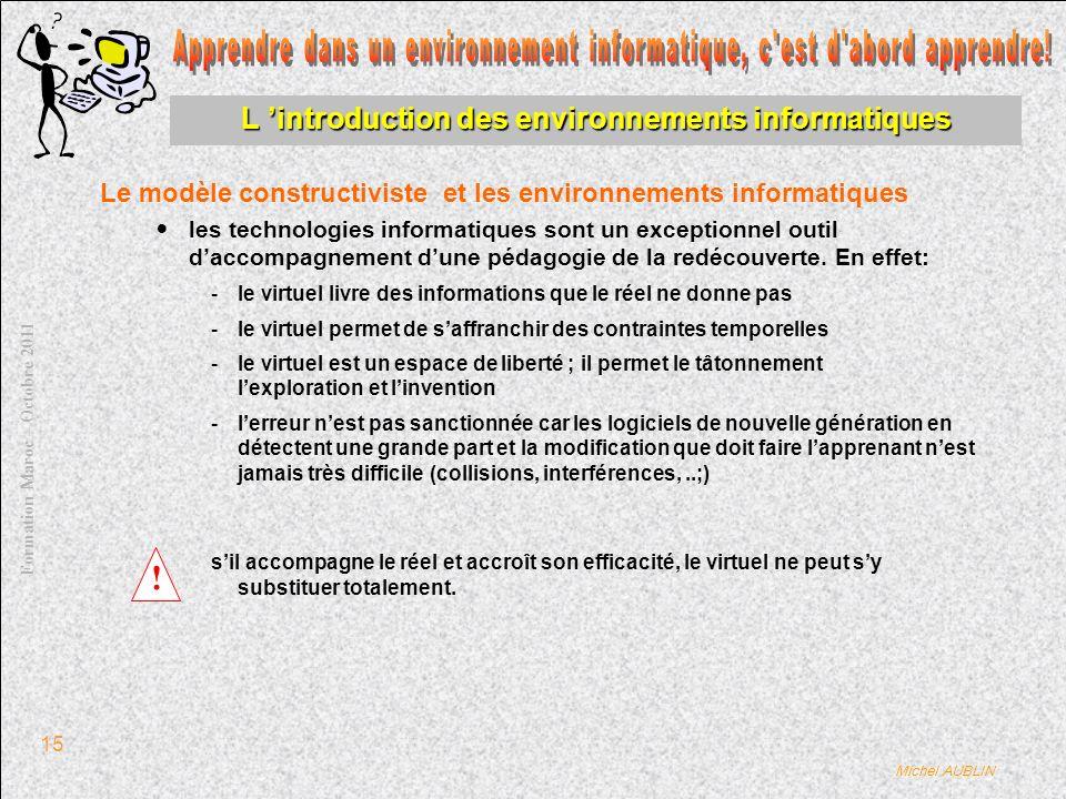 Michel AUBLIN Formation Maroc – Octobre 2011 15 L introduction des environnements informatiques Le modèle constructiviste et les environnements informatiques les technologies informatiques sont un exceptionnel outil daccompagnement dune pédagogie de la redécouverte.