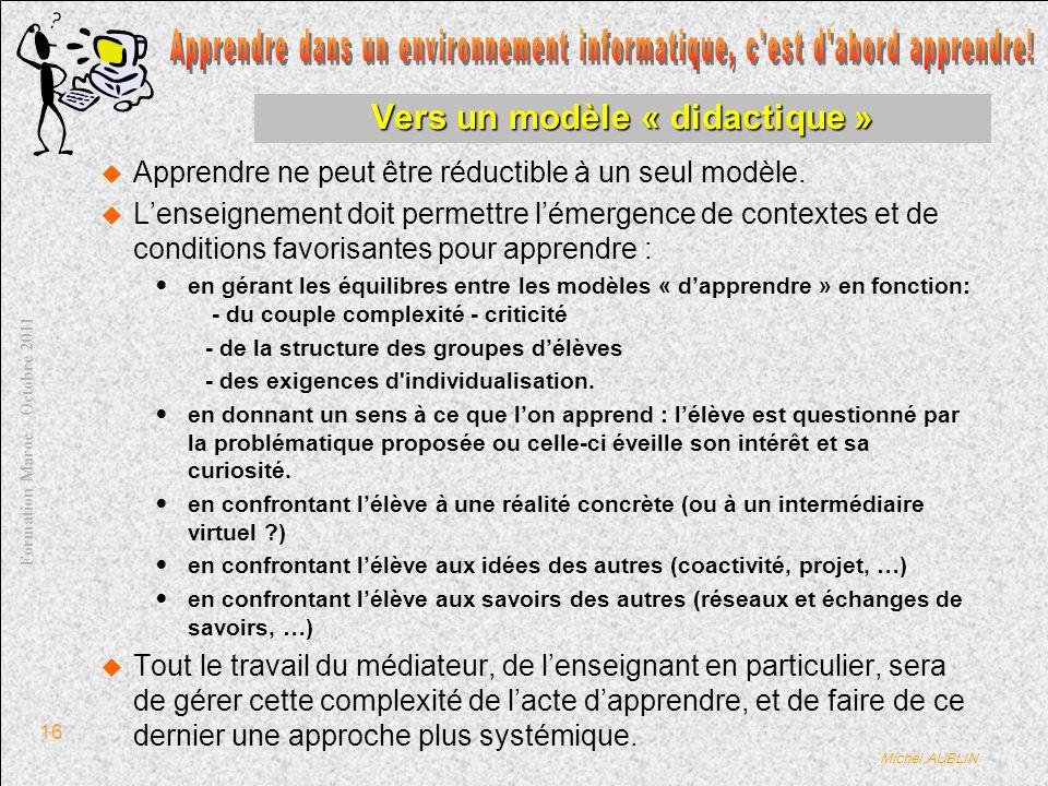 Michel AUBLIN Formation Maroc – Octobre 2011 16 Vers un modèle « didactique » Apprendre ne peut être réductible à un seul modèle.