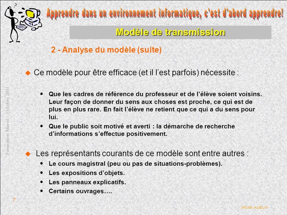 Michel AUBLIN Formation Maroc – Octobre 2011 7 Modèle de transmission Ce modèle pour être efficace (et il lest parfois) nécessite : Que les cadres de référence du professeur et de lélève soient voisins.