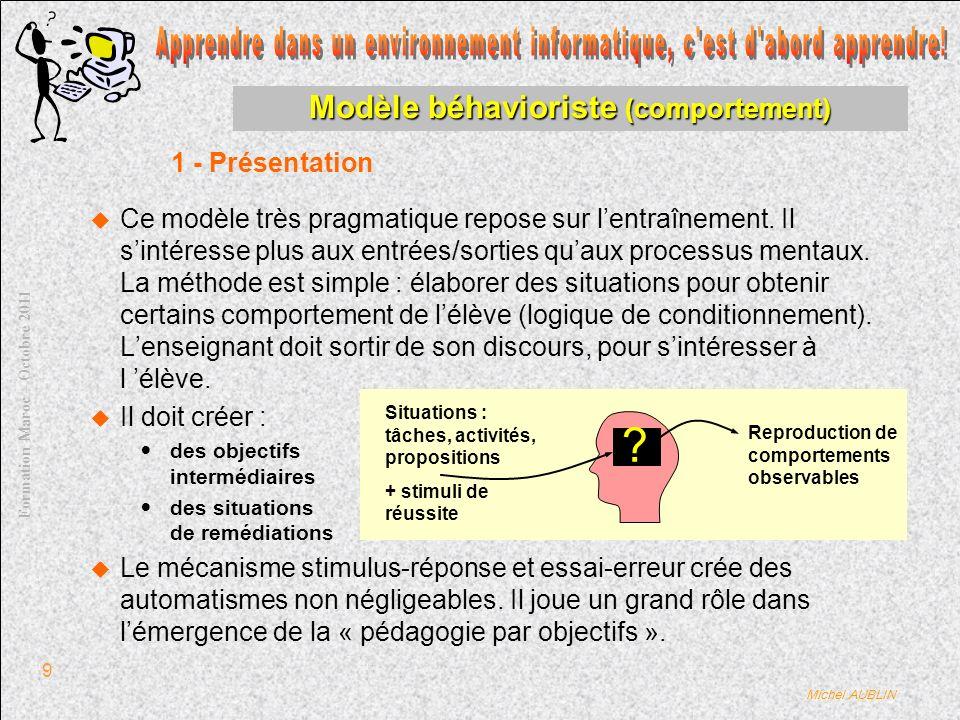 Michel AUBLIN Formation Maroc – Octobre 2011 10 Modèle béhavioriste (comportement) Ses qualités : Lenseignant doit sintéresser à lélève.