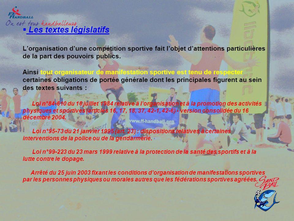 Les textes législatifs Lorganisation dune compétition sportive fait lobjet dattentions particulières de la part des pouvoirs publics. Ainsi tout organ