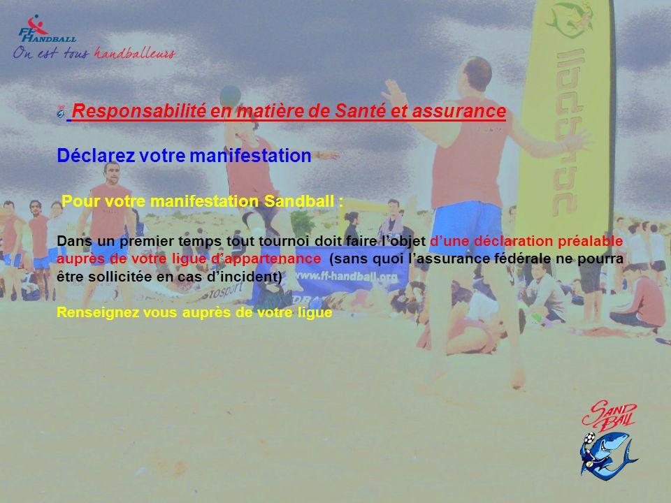 Responsabilité en matière de Santé et assurance Déclarez votre manifestation Pour votre manifestation Sandball : Dans un premier temps tout tournoi do
