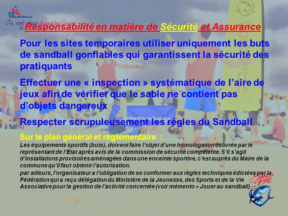 Responsabilité en matière de Sécurité et Assurance Pour les sites temporaires utiliser uniquement les buts de sandball gonflables qui garantissent la