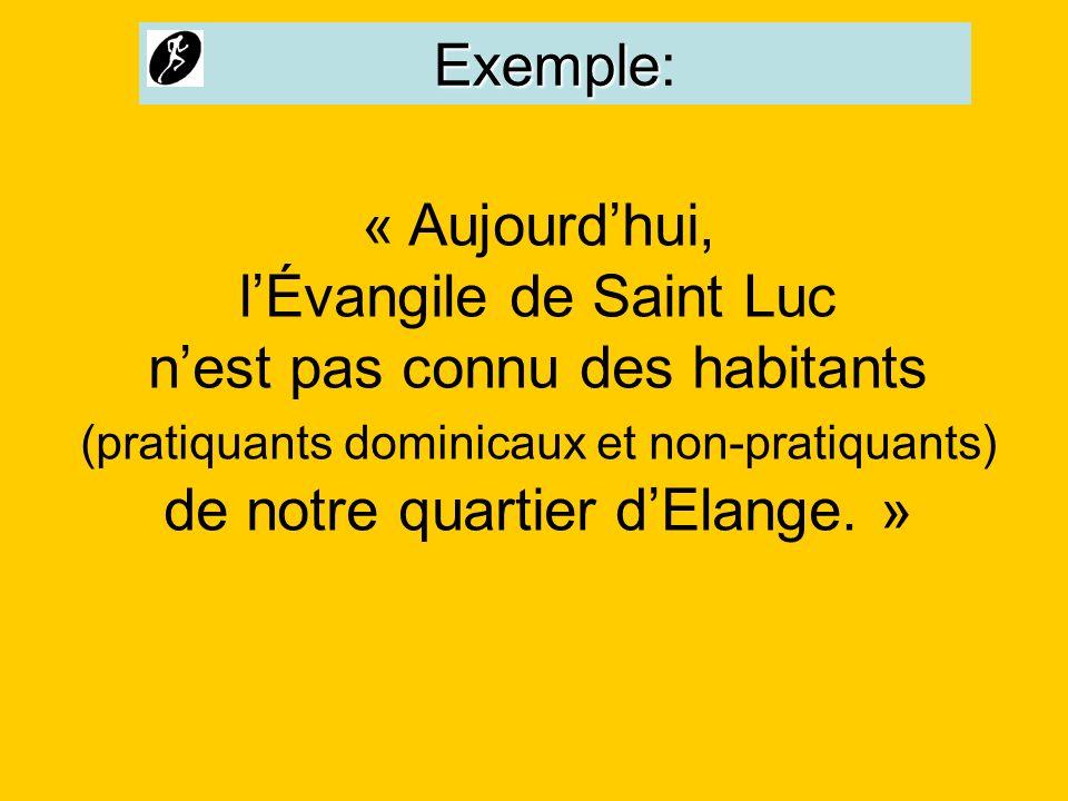 Exemple Exemple: « Aujourdhui, lÉvangile de Saint Luc nest pas connu des habitants (pratiquants dominicaux et non-pratiquants) de notre quartier dElan