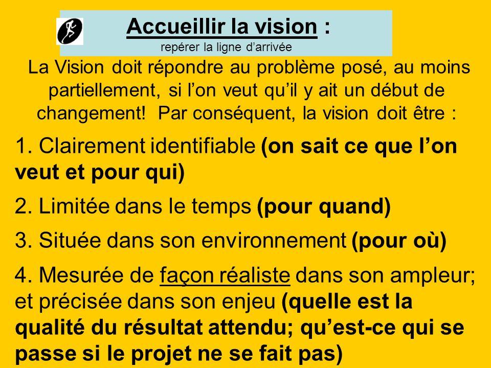 La Vision doit répondre au problème posé, au moins partiellement, si lon veut quil y ait un début de changement! Par conséquent, la vision doit être :
