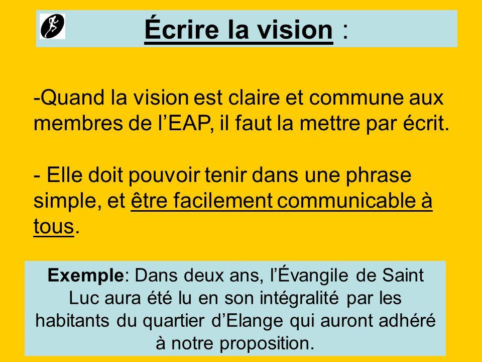 -Quand la vision est claire et commune aux membres de lEAP, il faut la mettre par écrit. - Elle doit pouvoir tenir dans une phrase simple, et être fac