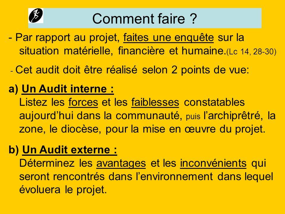 Comment faire ? - Par rapport au projet, faites une enquête sur la situation matérielle, financière et humaine. (Lc 14, 28-30) - Cet audit doit être r