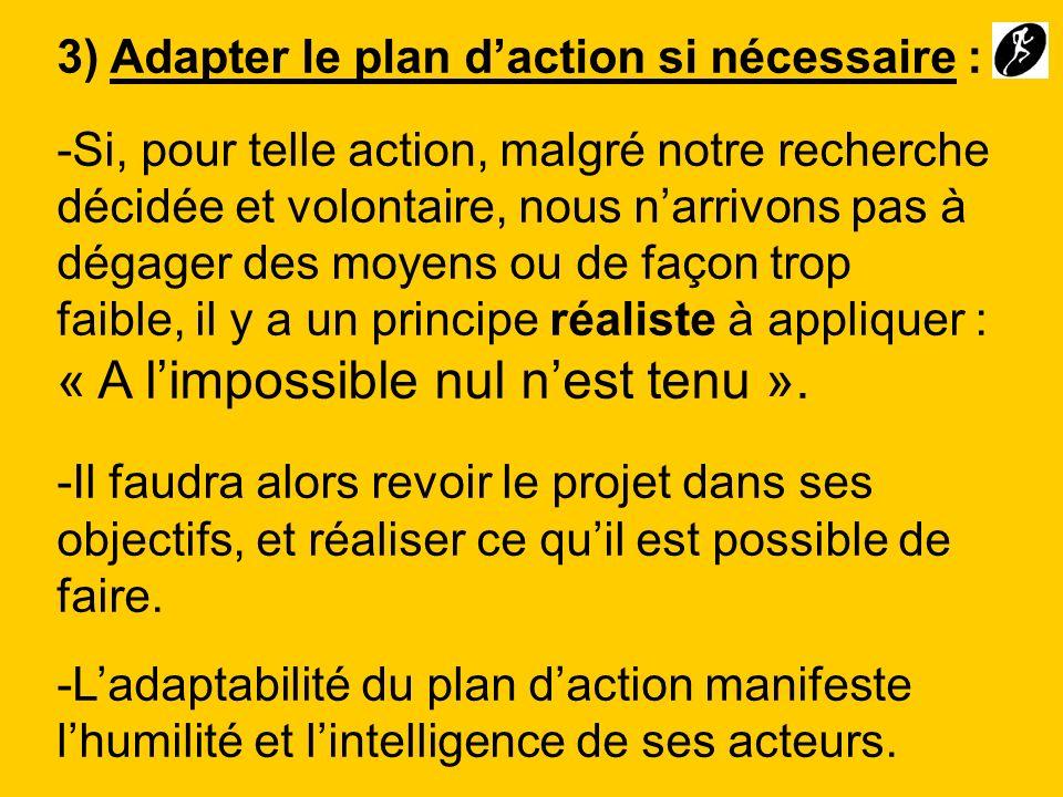 3) Adapter le plan daction si nécessaire : -Si, pour telle action, malgré notre recherche décidée et volontaire, nous narrivons pas à dégager des moye