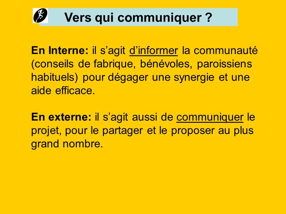 Vers qui communiquer ? En Interne: il sagit dinformer la communauté (conseils de fabrique, bénévoles, paroissiens habituels) pour dégager une synergie