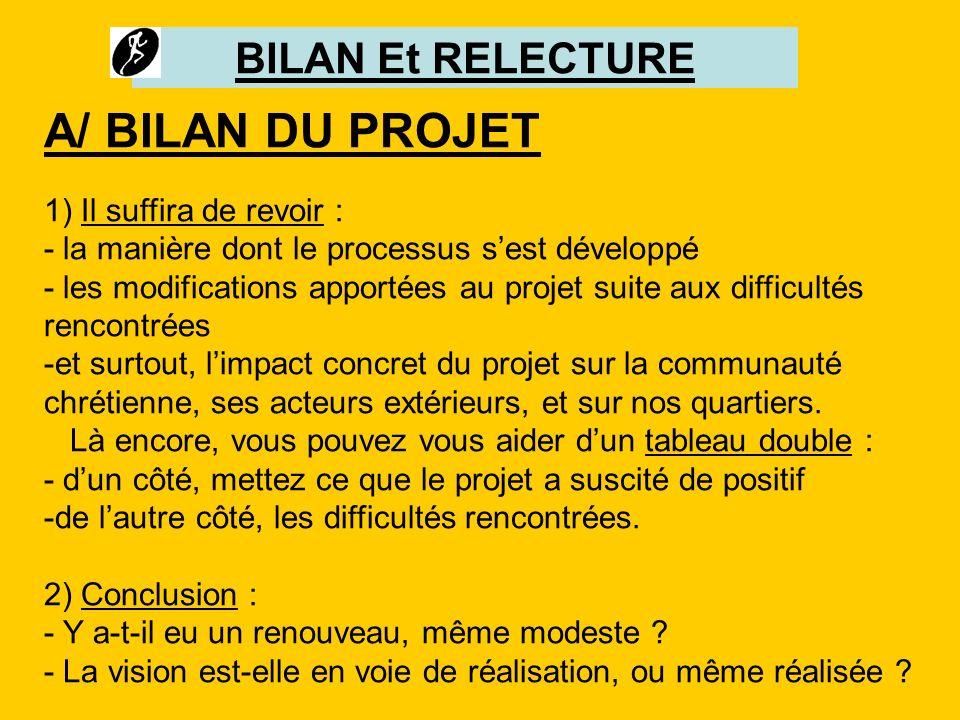BILAN Et RELECTURE A/ BILAN DU PROJET 1) Il suffira de revoir : - la manière dont le processus sest développé - les modifications apportées au projet
