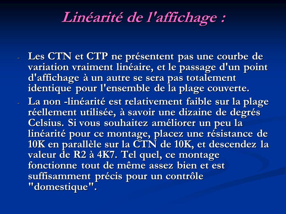 Linéarité de l'affichage : - Les CTN et CTP ne présentent pas une courbe de variation vraiment linéaire, et le passage d'un point d'affichage à un aut