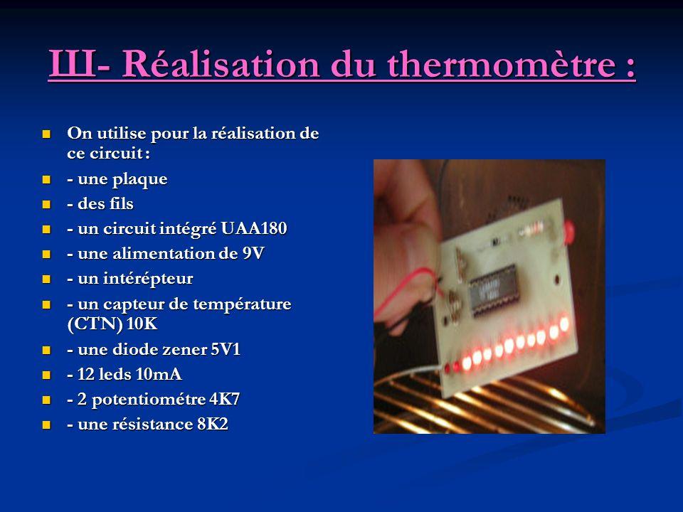 Ш- Réalisation du thermomètre : On utilise pour la réalisation de ce circuit : - une plaque - des fils - un circuit intégré UAA180 - une alimentation