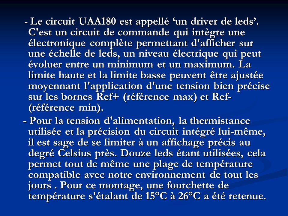 3- Fonctionnement du circuit : - Le circuit UAA180 va allumer une ou plusieurs leds, en fonction de la tension appliquée sur son entrée In (broche 17) et des tensions présentes sur les entrées Ref+ et Ref-.