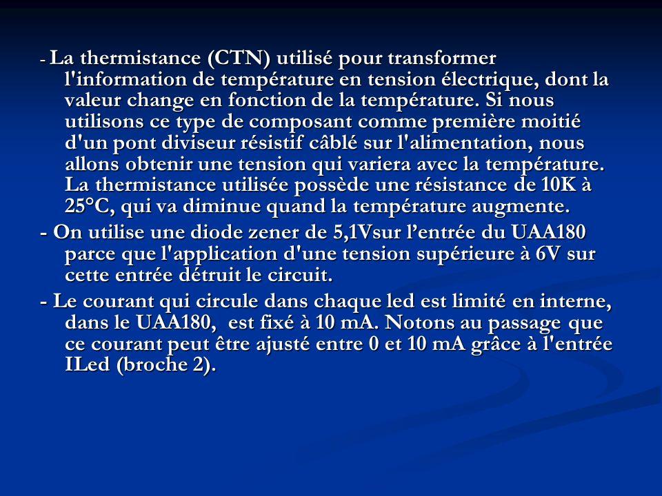 - La thermistance (CTN) utilisé pour transformer l'information de température en tension électrique, dont la valeur change en fonction de la températu