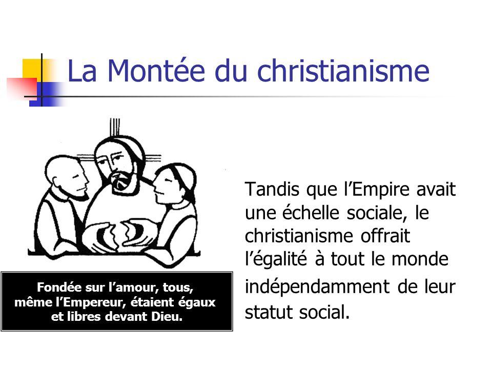 La Montée du christianisme Tandis que lEmpire avait une échelle sociale, le christianisme offrait légalité à tout le monde indépendamment de leur stat