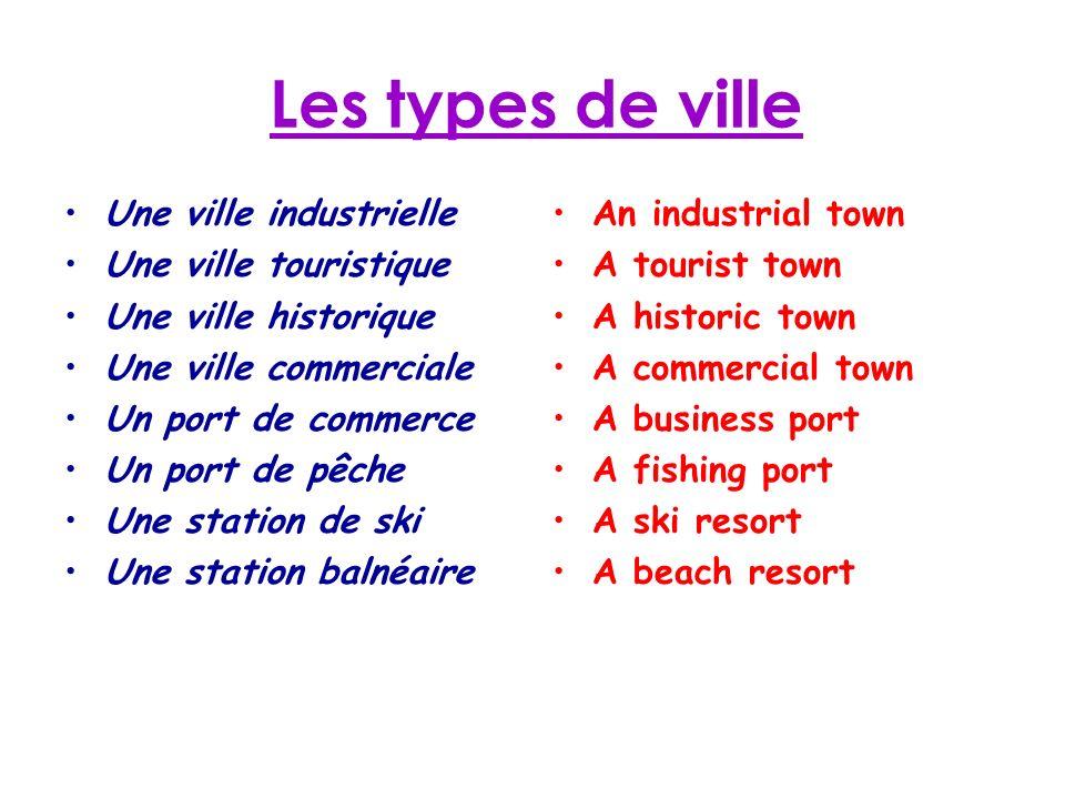 Les types de ville Une ville industrielle Une ville touristique Une ville historique Une ville commerciale Un port de commerce Un port de pêche Une st