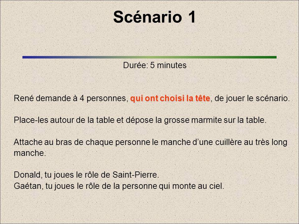 Scénario 1 Durée: 5 minutes qui ont choisi la tête René demande à 4 personnes, qui ont choisi la tête, de jouer le scénario. Place-les autour de la ta